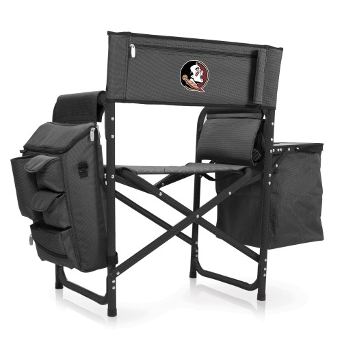 Florida State Seminoles – Fusion Backpack Chair with Cooler, (Dark Gray with Black Accents)