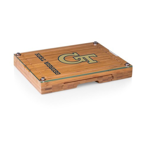 Georgia Tech Yellow Jackets – Concerto Glass Top Cheese Cutting Board & Tools Set, (Bamboo)