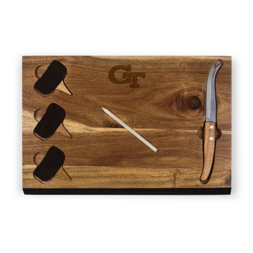 Georgia Tech Yellow Jackets – Delio Acacia Cheese Cutting Board & Tools Set, (Acacia Wood)
