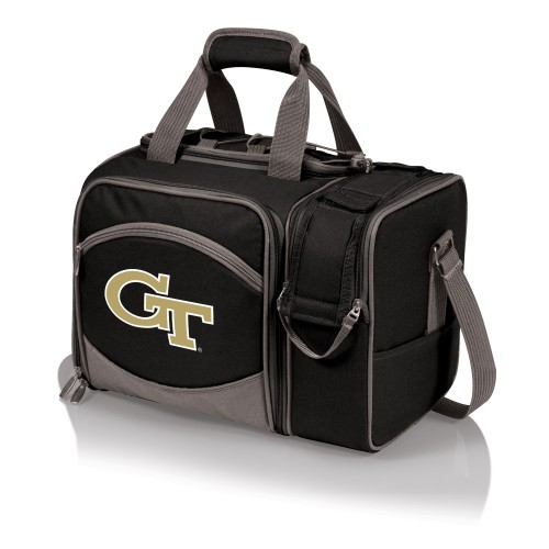 Georgia Tech Yellow Jackets – Malibu Picnic Basket Cooler, (Black with Gray Accents)