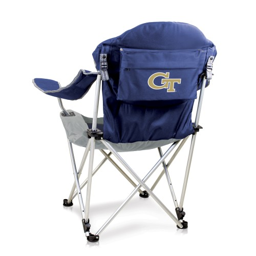 Georgia Tech Yellow Jackets – Reclining Camp Chair, (Navy Blue with Gray Accents)