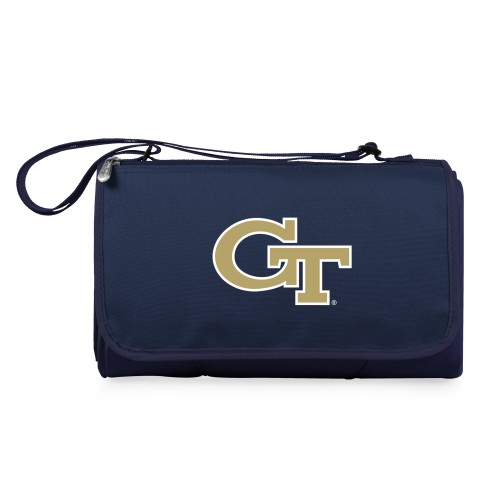 Georgia Tech Yellow Jackets – Blanket Tote Outdoor Picnic Blanket, (Navy Blue with Black Flap)