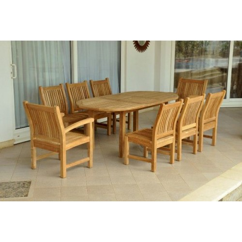 "Bahama Sahara 9-Pieces 78"" Oval Dining Set"
