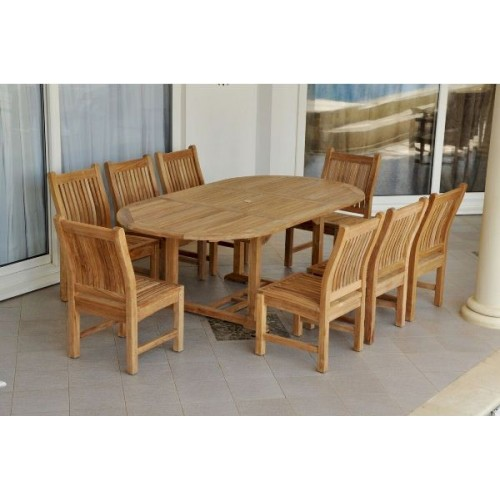 "Bahama Sahara 9-Pieces 87"" Oval Dining Set"