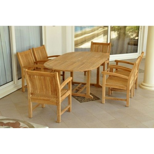 "Bahama Sahara Armchair 7-Pieces 87"" Oval Dining Set"