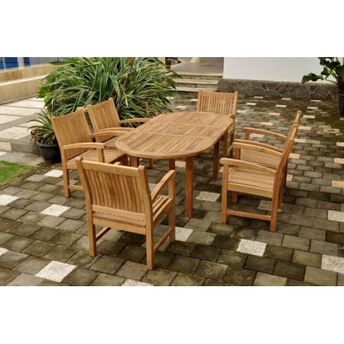 "Bahama Stackable Sahara 9-Pieces 78"" Oval Dining Set"