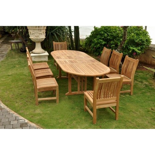 Sahara Dining Side Chair 9-Pieces Oval Dining Set