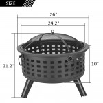 "26"" Round Metal Lattice Fire Pit Fire Bowl Outdoor BBQ Burn Grill Patio Brazier"