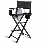 Outdoor Patio Folding Directors Chair with Foot Rest and Drink Holder in Black