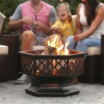 24 Inch Steel Distressed Bronze Lattice Design Fire Pit With Cover