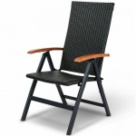 Outdoor Heavy Duty Folding Rattan Patio Chair with Wood Armrest