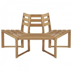 Half Hexagonal Outdoor Tree Bench in Weather Resistant Acacia Wood