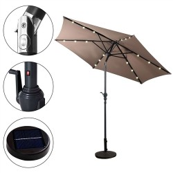 9-Ft Patio Umbrella with Steel Pole Crank Tilt and Solar LED Lights
