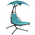 Teal Single Person Sturdy Chaise Lounger Hammock Chair Porch Swing