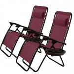 Set of 2 Folding Outdoor Zero Gravity Lounge Chair Recliner