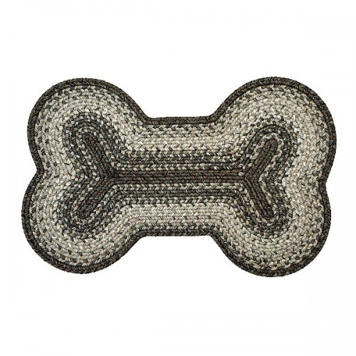 "Homespice Decor - 25 x 39"" Bone shape Graphite Ultra Durable Braided Rugs"