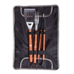 3-PIECE BBQ TOTE & GRILL SET, (BLACK WITH GRAY ACCENTS)