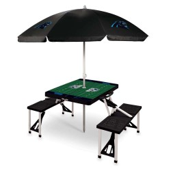 CAROLINA PANTHERS – PICNIC TABLE PORTABLE FOLDING TABLE WITH SEATS AND UMBRELLA, (BLACK)