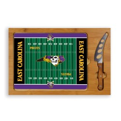 EAST CAROLINA PIRATES – ICON GLASS TOP CUTTING BOARD & KNIFE SET, (RUBBERWOOD & BAMBOO)