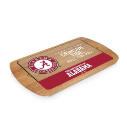 ALABAMA CRIMSON TIDE – BILLBOARD GLASS TOP SERVING TRAY, (RUBBERWOOD)
