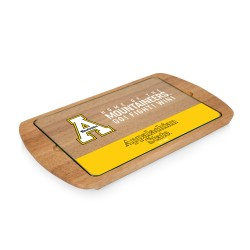 APP STATE MOUNTAINEERS – BILLBOARD GLASS TOP SERVING TRAY, (RUBBERWOOD)