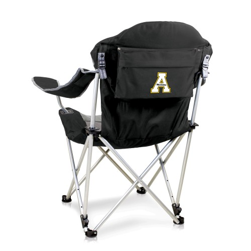 APP STATE MOUNTAINEERS – RECLINING CAMP CHAIR, (BLACK WITH GRAY ACCENTS)