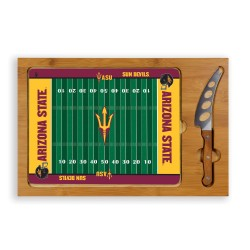 ARIZONA STATE SUN DEVILS – ICON GLASS TOP CUTTING BOARD & KNIFE SET, (RUBBERWOOD & BAMBOO)