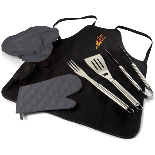 ARIZONA STATE SUN DEVILS – BBQ APRON TOTE PRO GRILL SET, (BLACK WITH GRAY ACCENTS)