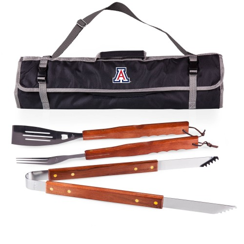 ARIZONA WILDCATS – 3-PIECE BBQ TOTE & GRILL SET, (BLACK WITH GRAY ACCENTS)