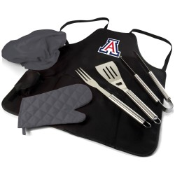ARIZONA WILDCATS – BBQ APRON TOTE PRO GRILL SET, (BLACK WITH GRAY ACCENTS)