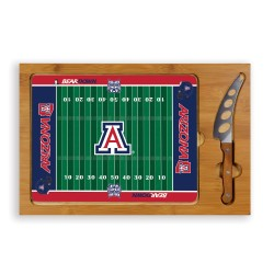 ARIZONA WILDCATS – ICON GLASS TOP CUTTING BOARD & KNIFE SET, (RUBBERWOOD & BAMBOO)