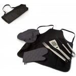 BBQ APRON TOTE PRO GRILL SET, (BLACK WITH GRAY ACCENTS)