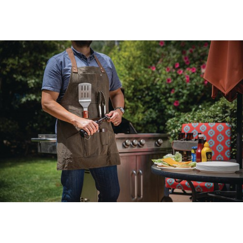 BBQ APRON WITH TOOLS & BOTTLE OPENER, (KHAKI GREEN WITH BEIGE ACCENTS)