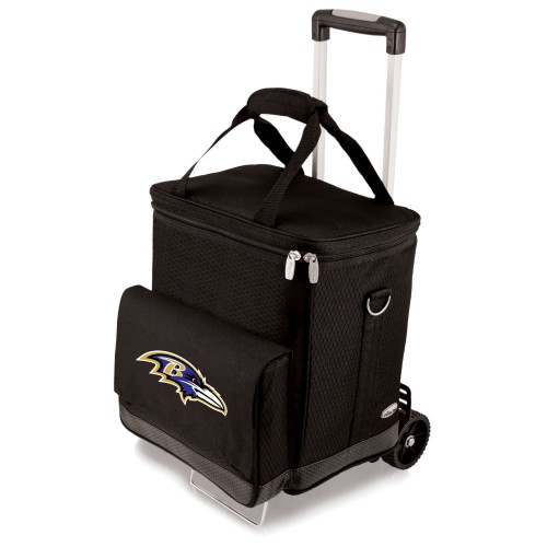 BALTIMORE RAVENS – CELLAR 6-BOTTLE WINE CARRIER & COOLER TOTE WITH TROLLEY