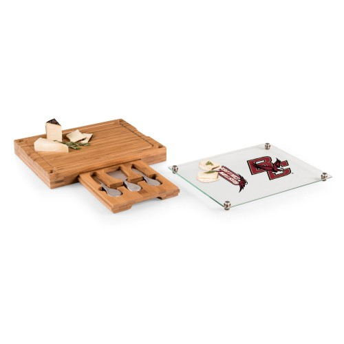 BOSTON COLLEGE EAGLES – CONCERTO GLASS TOP CHEESE CUTTING BOARD & TOOLS SET, (BAMBOO)