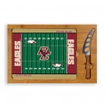 BOSTON COLLEGE EAGLES – ICON GLASS TOP CUTTING BOARD & KNIFE SET, (RUBBERWOOD & BAMBOO)