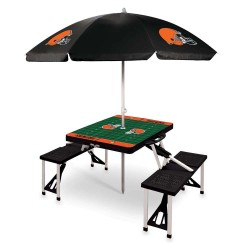 CLEVELAND BROWNS – PICNIC TABLE PORTABLE FOLDING TABLE WITH SEATS AND UMBRELLA
