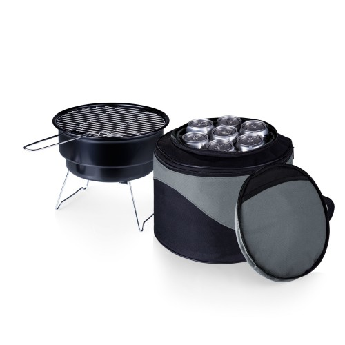 CALIENTE PORTABLE CHARCOAL GRILL & COOLER TOTE, (BLACK WITH GRAY ACCENTS)