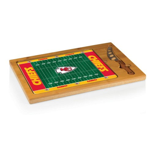 KANSAS CITY CHIEFS – ICON GLASS TOP CUTTING BOARD & KNIFE SET