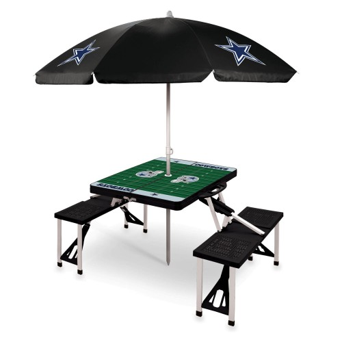 DALLAS COWBOYS – PICNIC TABLE PORTABLE FOLDING TABLE WITH SEATS AND UMBRELLA