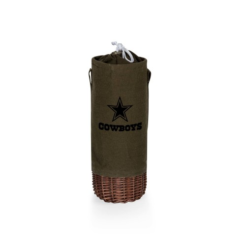 DALLAS COWBOYS – MALBEC INSULATED CANVAS AND WILLOW WINE BOTTLE BASKET