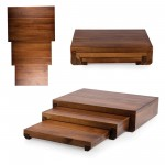 ETAGE SET OF 3 ACACIA SERVING PEDESTALS, (ACACIA WOOD)