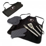 GEORGIA BULLDOGS – BBQ APRON TOTE PRO GRILL SET, (BLACK WITH GRAY ACCENTS)