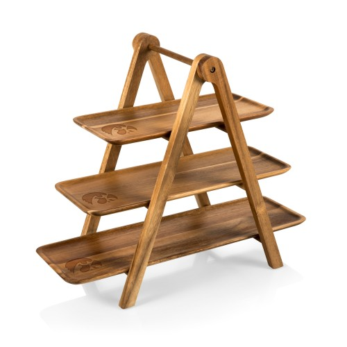 IOWA HAWKEYES – SERVING LADDER – 3 TIERED SERVING STATION, (ACACIA WOOD)