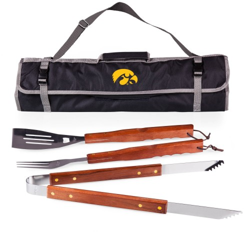 IOWA HAWKEYES – 3-PIECE BBQ TOTE & GRILL SET, (BLACK WITH GRAY ACCENTS)