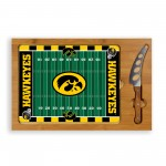 IOWA HAWKEYES – ICON GLASS TOP CUTTING BOARD & KNIFE SET, (RUBBERWOOD & BAMBOO)