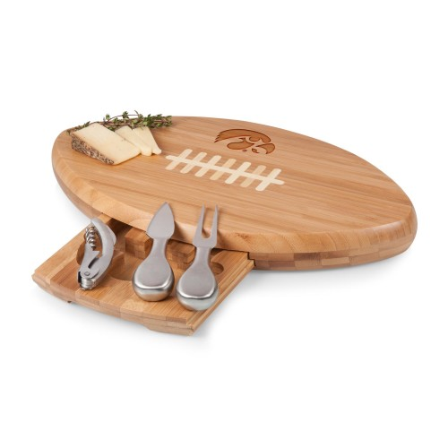 IOWA HAWKEYES – QUARTERBACK FOOTBALL CHEESE CUTTING BOARD & TOOLS SET, (BAMBOO)