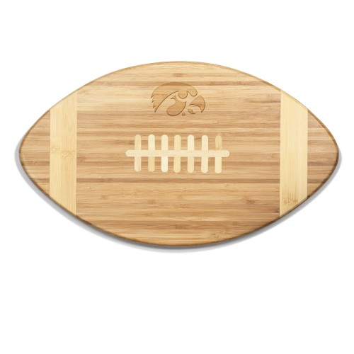 IOWA HAWKEYES – TOUCHDOWN! FOOTBALL CUTTING BOARD & SERVING TRAY, (BAMBOO)