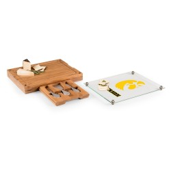 IOWA HAWKEYES – CONCERTO GLASS TOP CHEESE CUTTING BOARD & TOOLS SET, (BAMBOO)