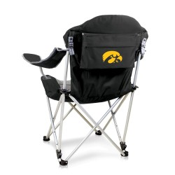IOWA HAWKEYES – RECLINING CAMP CHAIR, (BLACK WITH GRAY ACCENTS)